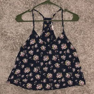 Lush Floral Print Open Back Tank Top Size Medium